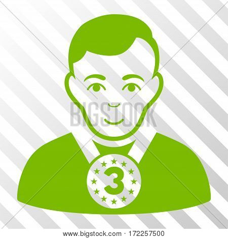 Eco Green 3rd Prizer Sportsman toolbar pictogram. Vector pictogram style is a flat symbol on diagonal hatch transparent background.