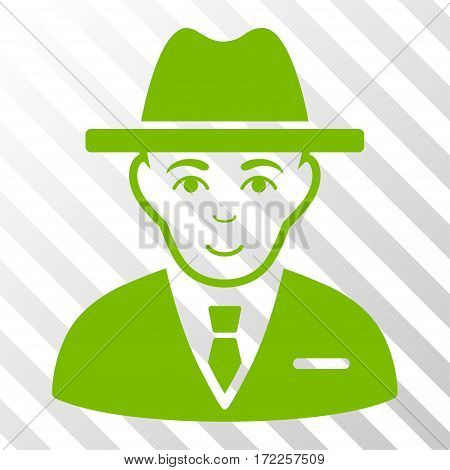 Eco Green Agent interface toolbar icon. Vector pictogram style is a flat symbol on diagonally hatched transparent background.
