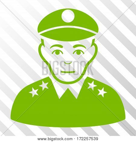 Eco Green Army General interface pictogram. Vector pictograph style is a flat symbol on diagonal hatch transparent background.