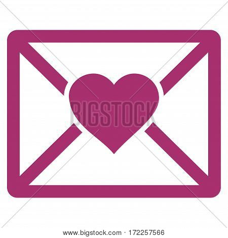 Love Letter flat icon. Vector purple symbol. Pictogram is isolated on a white background. Trendy flat style illustration for web site design logo ads apps user interface.