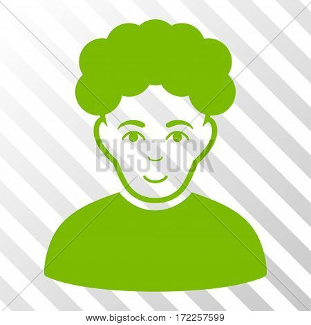 Eco Green Brunet Man interface toolbar icon. Vector pictograph style is a flat symbol on diagonally hatched transparent background.