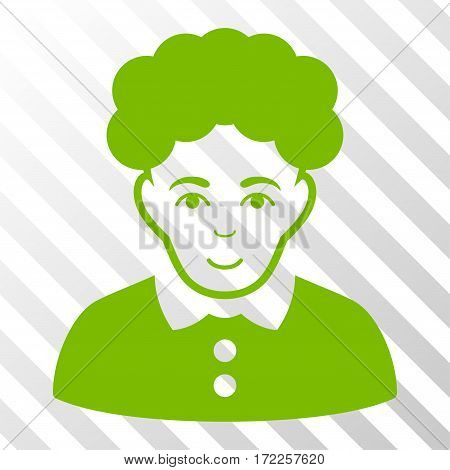 Eco Green Brunette Woman toolbar icon. Vector pictograph style is a flat symbol on diagonally hatched transparent background.
