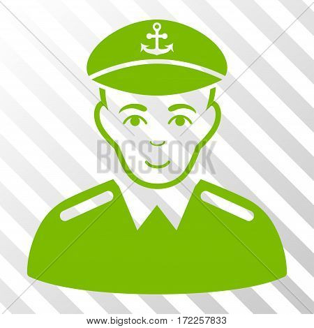 Eco Green Captain interface toolbar pictogram. Vector pictograph style is a flat symbol on diagonally hatched transparent background.