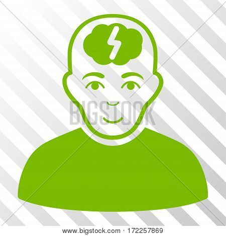 Eco Green Clever Boy toolbar icon. Vector pictograph style is a flat symbol on diagonally hatched transparent background.