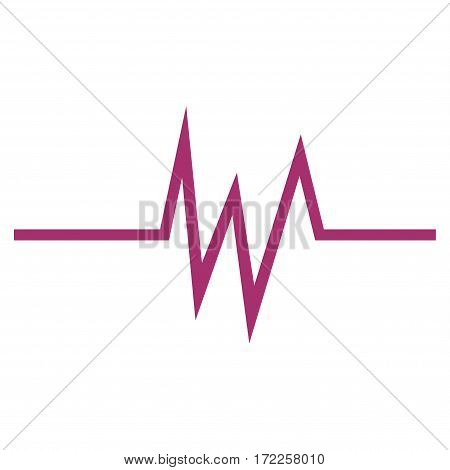 Pulse Signal flat icon. Vector purple symbol. Pictograph is isolated on a white background. Trendy flat style illustration for web site design logo ads apps user interface.