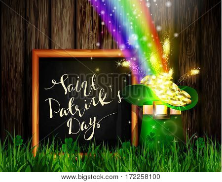 St. Patrick s Day symbol green hat full of gold coins and rainbow with chalk board in frame with handwritten greetings Vector illustration