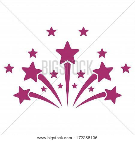 Star Fireworks flat icon. Vector purple symbol. Pictograph is isolated on a white background. Trendy flat style illustration for web site design logo ads apps user interface.
