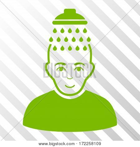 Eco Green Head Shower toolbar icon. Vector pictogram style is a flat symbol on diagonally hatched transparent background.