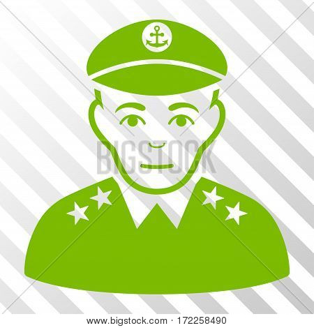 Eco Green Military Captain interface toolbar icon. Vector pictogram style is a flat symbol on diagonal hatch transparent background.