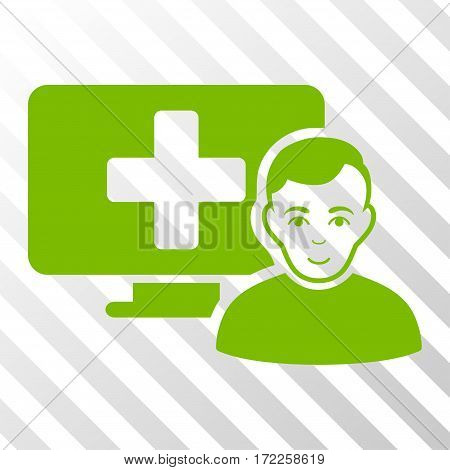 Eco Green Online Medicine interface pictogram. Vector pictograph style is a flat symbol on diagonal hatch transparent background.