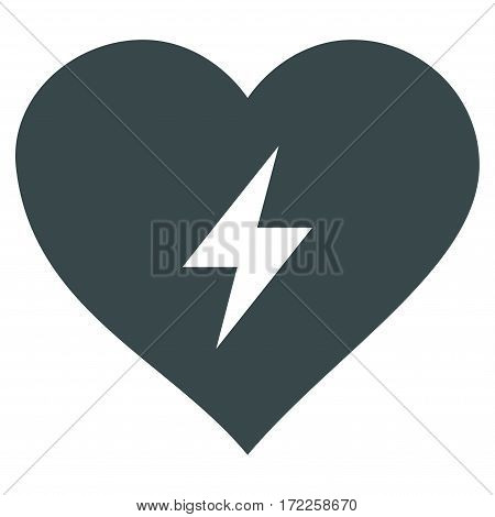 Heart Power flat icon. Vector soft blue symbol. Pictogram is isolated on a white background. Trendy flat style illustration for web site design logo ads apps user interface.