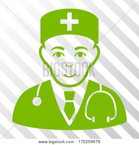 Eco Green Physician interface toolbar pictogram. Vector pictogram style is a flat symbol on diagonally hatched transparent background.