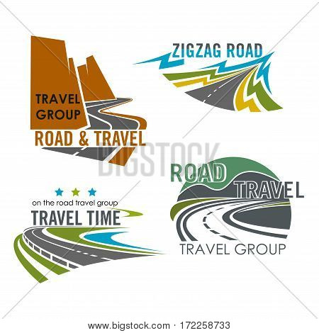 Road or route vector icons. Emblems of highway, motorway lane or expressway drive for travel trip adventure, industry and asphalt driveway construction, transportation and navigation corporation