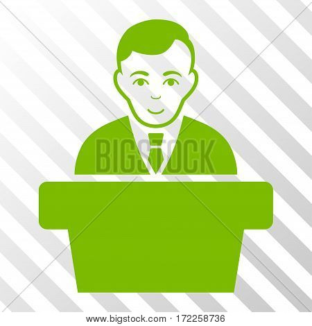 Eco Green Politician interface toolbar icon. Vector pictograph style is a flat symbol on diagonal hatch transparent background.