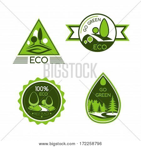 Go Green vector icons. Nature and environment protection symbols of water drop and forest trees. Ecology saving concept for eco travel, waste-free or carbon free product package label design