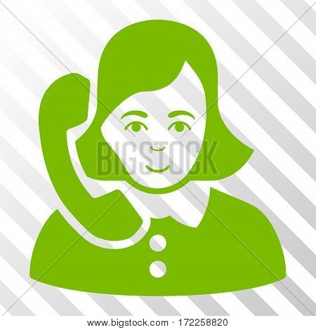 Eco Green Receptionist toolbar pictogram. Vector pictogram style is a flat symbol on diagonally hatched transparent background.