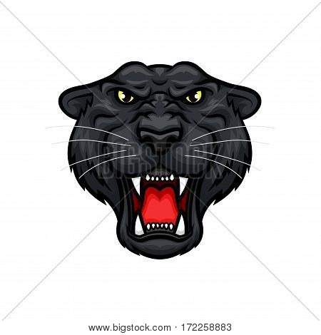 Black panther vector mascot. Roaring jaguar or leopard large wild cat muzzle with sharp canines jaw and yellow eyes. Isolated emblem design for sport team, hunting trip club or tattoo sign