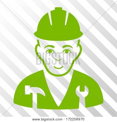 Eco Green Serviceman interface toolbar icon. Vector pictogram style is a flat symbol on diagonal hatch transparent background.