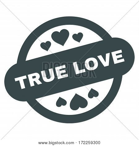 True Love Stamp Seal flat icon. Vector soft blue symbol. Pictograph is isolated on a white background. Trendy flat style illustration for web site design logo ads apps user interface.