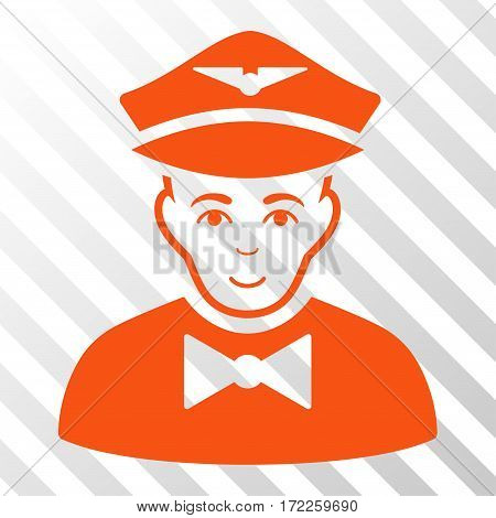Orange Airline Steward interface icon. Vector pictogram style is a flat symbol on diagonally hatched transparent background.
