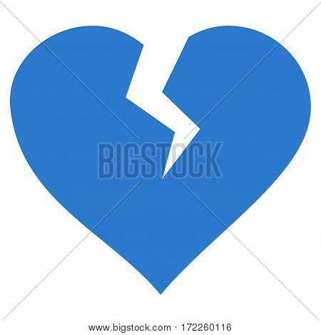 Heart Break flat icon. Vector smooth blue symbol. Pictograph is isolated on a white background. Trendy flat style illustration for web site design logo ads apps user interface.