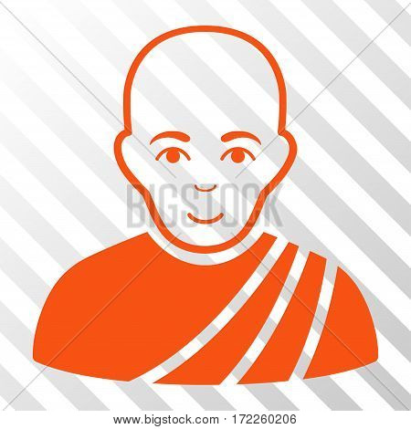 Orange Buddhist Monk toolbar pictogram. Vector pictograph style is a flat symbol on diagonal hatch transparent background.