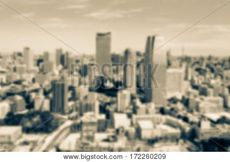 Vintage style . View of Tokyo city in winter from Tokyo tower