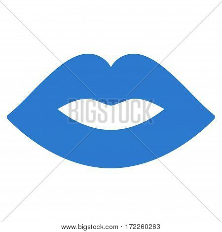 Lips flat icon. Vector smooth blue symbol. Pictograph is isolated on a white background. Trendy flat style illustration for web site design logo ads apps user interface.