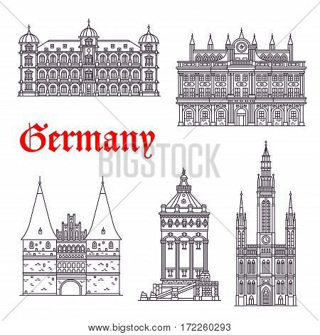 German historic architecture and landmarks. Vector thin line icons of Town Hall, Palace Gottesaue in Karlsruhe, Holstenor museum, Wasserturm water tower in Mannheim and Marktkirche church