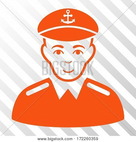 Orange Captain toolbar icon. Vector pictogram style is a flat symbol on diagonally hatched transparent background.