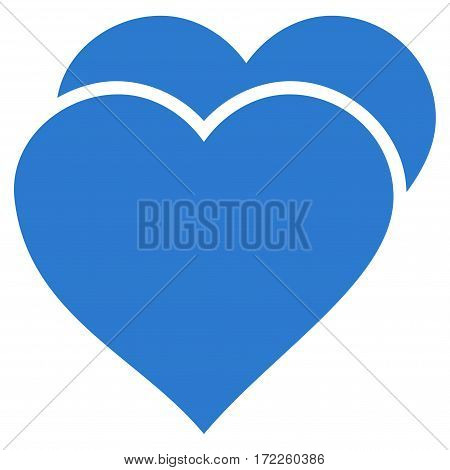Love Hearts flat icon. Vector smooth blue symbol. Pictograph is isolated on a white background. Trendy flat style illustration for web site design logo ads apps user interface.