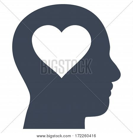 Love In Head flat icon. Vector smooth blue symbol. Pictograph is isolated on a white background. Trendy flat style illustration for web site design logo ads apps user interface.