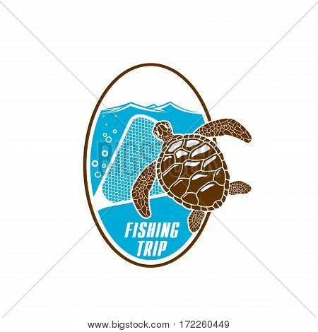 Turtle fishing vector icon with fishnet snare or grid and sea or ocean water waves. Emblem for fishery industry or company, fisherman or fisher trip sport or adventure club