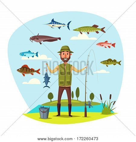 Happy fisherman with fishing rod and fish catch in bucket. Vector fisher man holding fishes on hook marlin, pike and perch, sheatfish or catfish, salmon, carp and crucian