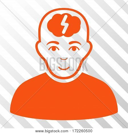 Orange Clever Boy toolbar icon. Vector pictogram style is a flat symbol on diagonal hatch transparent background.