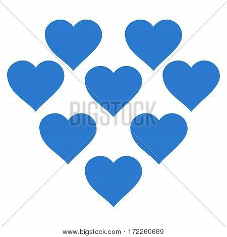 Lovely Hearts flat icon. Vector smooth blue symbol. Pictograph is isolated on a white background. Trendy flat style illustration for web site design logo ads apps user interface.