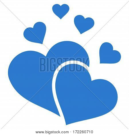 Lovely Hearts flat icon. Vector smooth blue symbol. Pictogram is isolated on a white background. Trendy flat style illustration for web site design logo ads apps user interface.