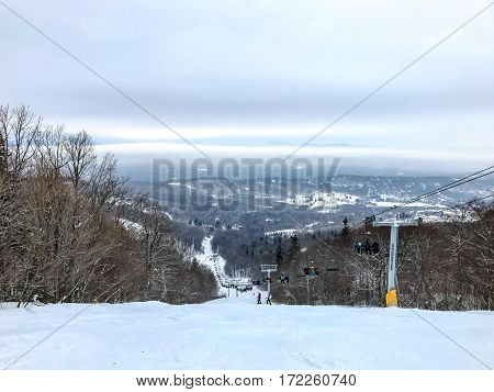 Ski run under a chair lift on Stratton mountain in Vermont.