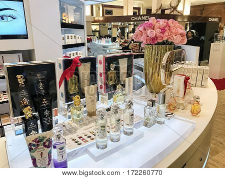 New York Februrary 14 2017: Scene on the perfume floor of the flagship Saks Fifth Avenue department store on 5th Avenue.