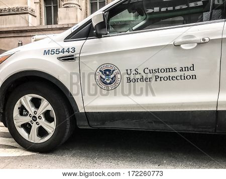 New York Februrary 14 2017: A U.S Customs and Border Protection vehicle is parked in the street on Lexington Avenue.
