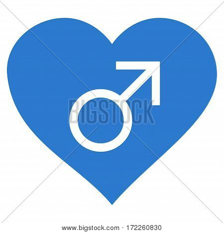 Male Love Heart flat icon. Vector smooth blue symbol. Pictograph is isolated on a white background. Trendy flat style illustration for web site design logo ads apps user interface.
