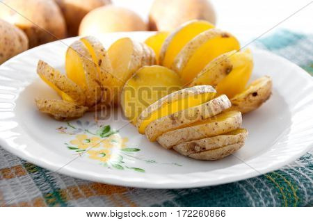Baked Potatoes In Their Skins Yellow On A White Plate