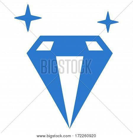Sparkle Diamond Crystal flat icon. Vector smooth blue symbol. Pictograph is isolated on a white background. Trendy flat style illustration for web site design logo ads apps user interface.