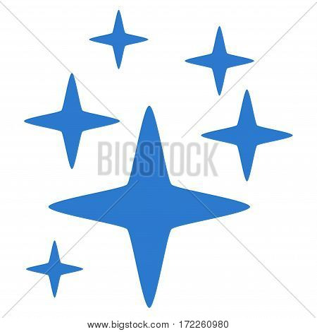 Sparkle Stars flat icon. Vector smooth blue symbol. Pictograph is isolated on a white background. Trendy flat style illustration for web site design logo ads apps user interface.