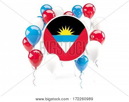Round Flag Of Antigua And Barbuda With Balloons