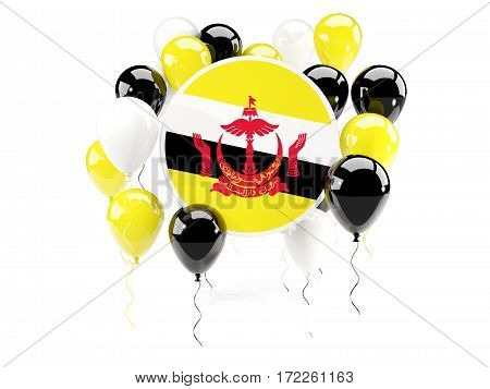 Round Flag Of Brunei With Balloons