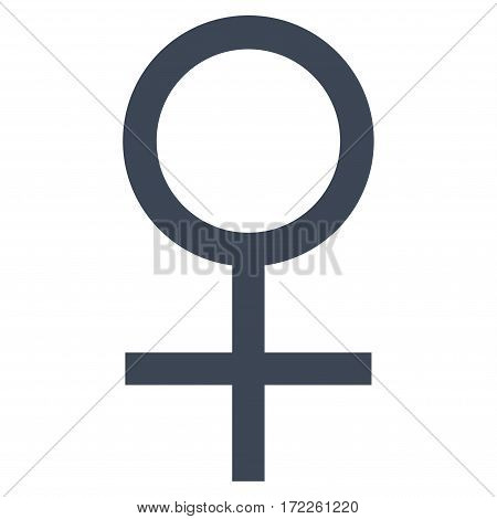 Venus Female Symbol flat icon. Vector smooth blue symbol. Pictogram is isolated on a white background. Trendy flat style illustration for web site design logo ads apps user interface.