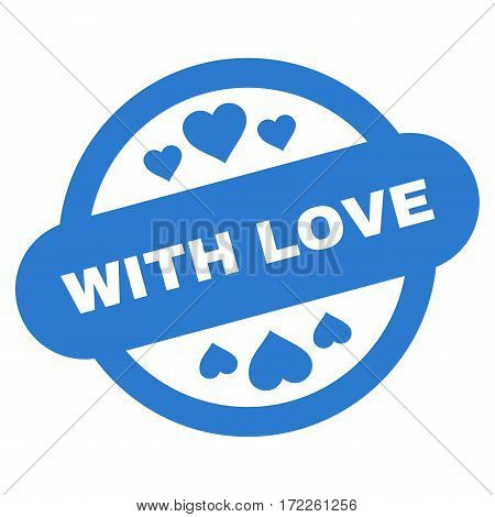 With Love Stamp Seal flat icon. Vector smooth blue symbol. Pictogram is isolated on a white background. Trendy flat style illustration for web site design logo ads apps user interface.