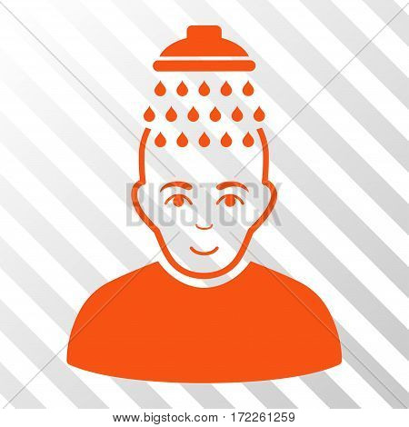 Orange Head Shower interface icon. Vector pictogram style is a flat symbol on diagonally hatched transparent background.