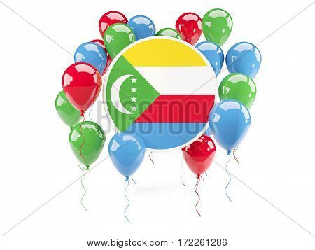 Round Flag Of Comoros With Balloons